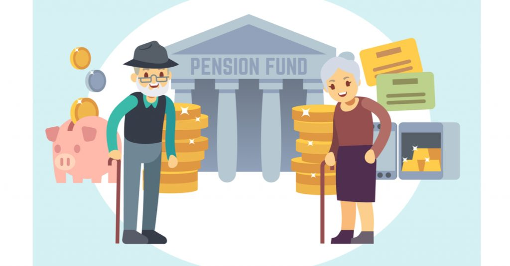 Happy senior couple saving retirement plan and pension money - Shutterstock ID 1062331313 By MicroOne