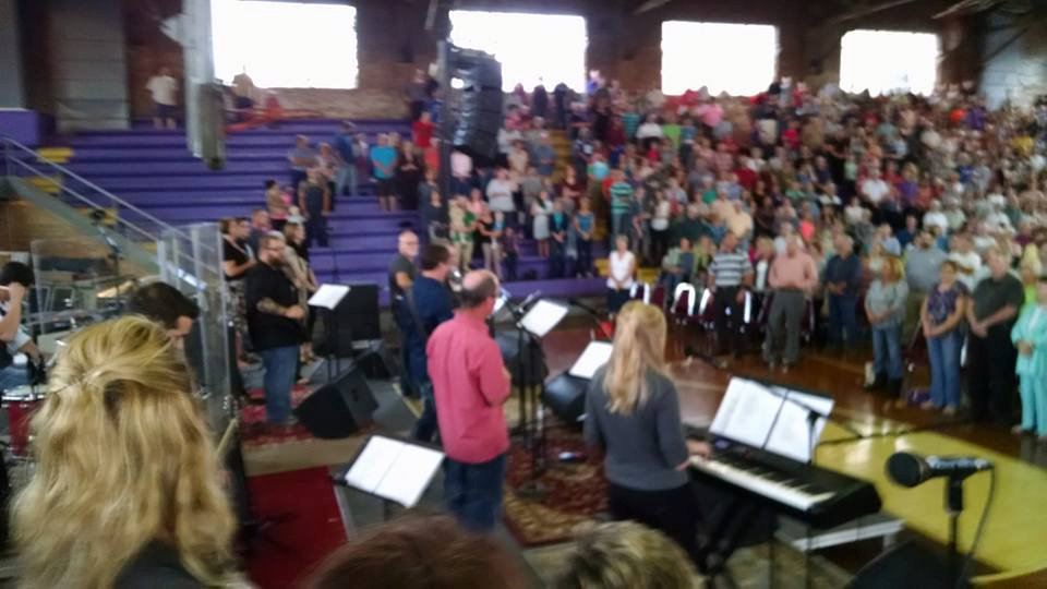 COVID-19 challenges faith community assemblies like this 2015 community worship event in Sullivan, Indiana